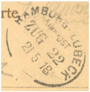 Bahnpoststempel Linie Hamburg-Lübeck, 1918