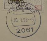 30.01.1988: letzter Stempel 2061 Rümpel 2