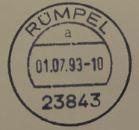 01.07.1993: erster Stempel mit der Postleitzahl 23843