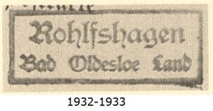 Poststellenstempel Rohlfshagen 1932 - 1933