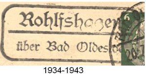 Poststellenstempel Rohlfshagen 1934 - 1943